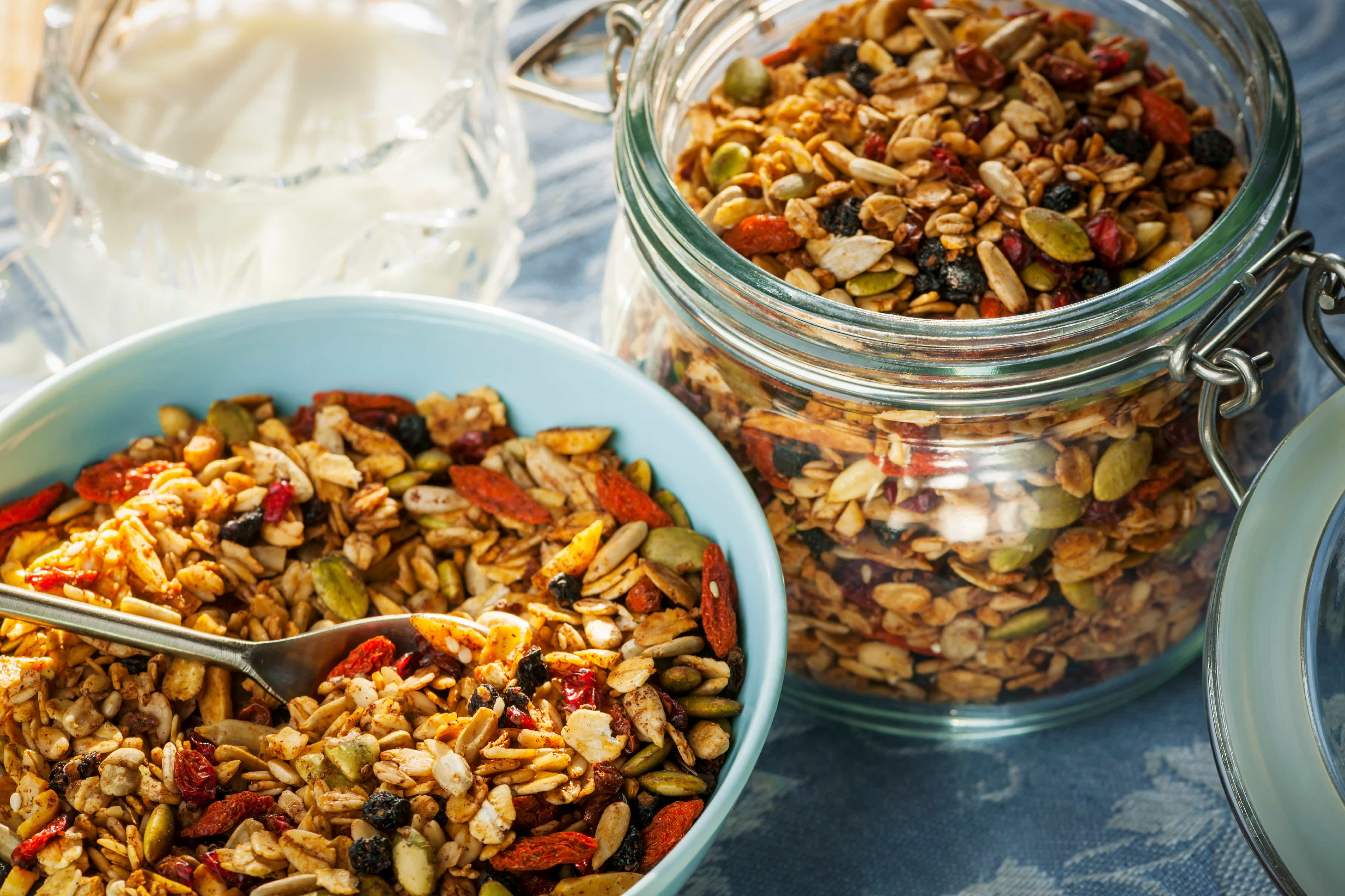 Jar of granola, the perfect food source for ants