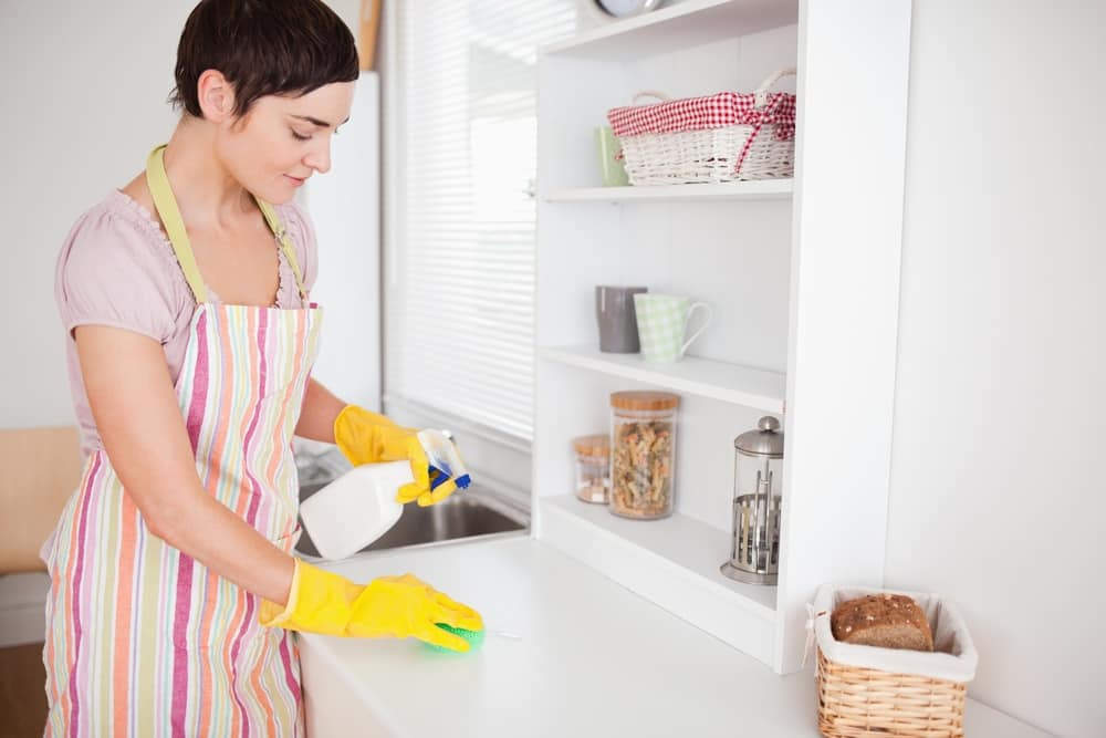 Beautiful brunette woman cleaning a cupboard in the kitchen.jpeg